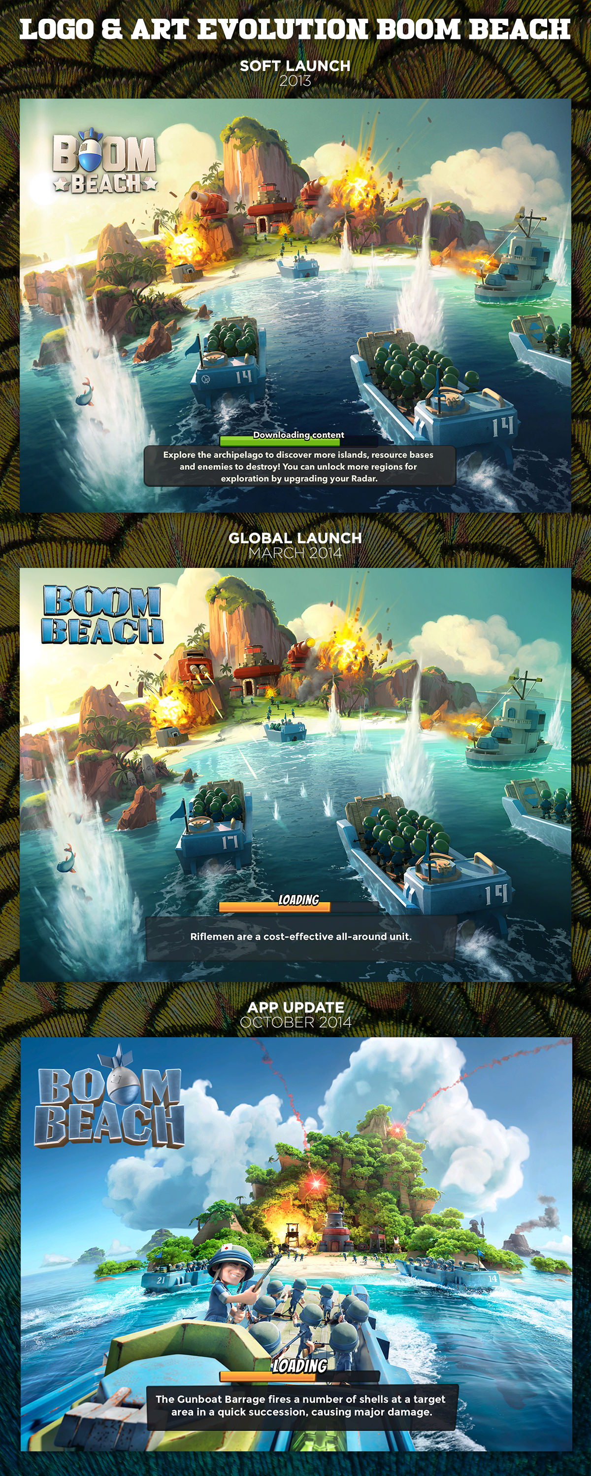 Boom Beach Key Art and Logo Evolution