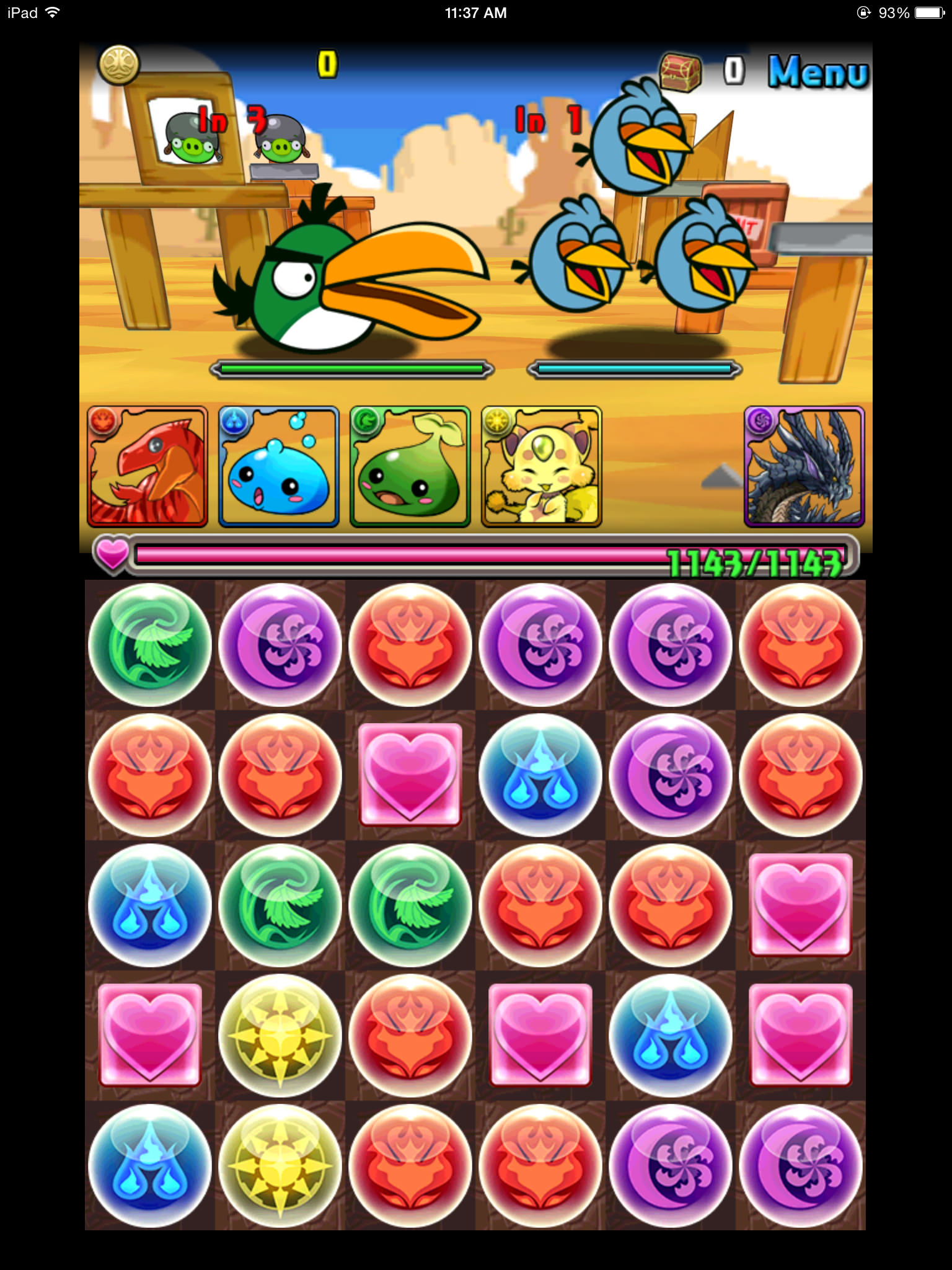 Puzzle & Dragons and Angry Birds Epic - Battle Screen 01
