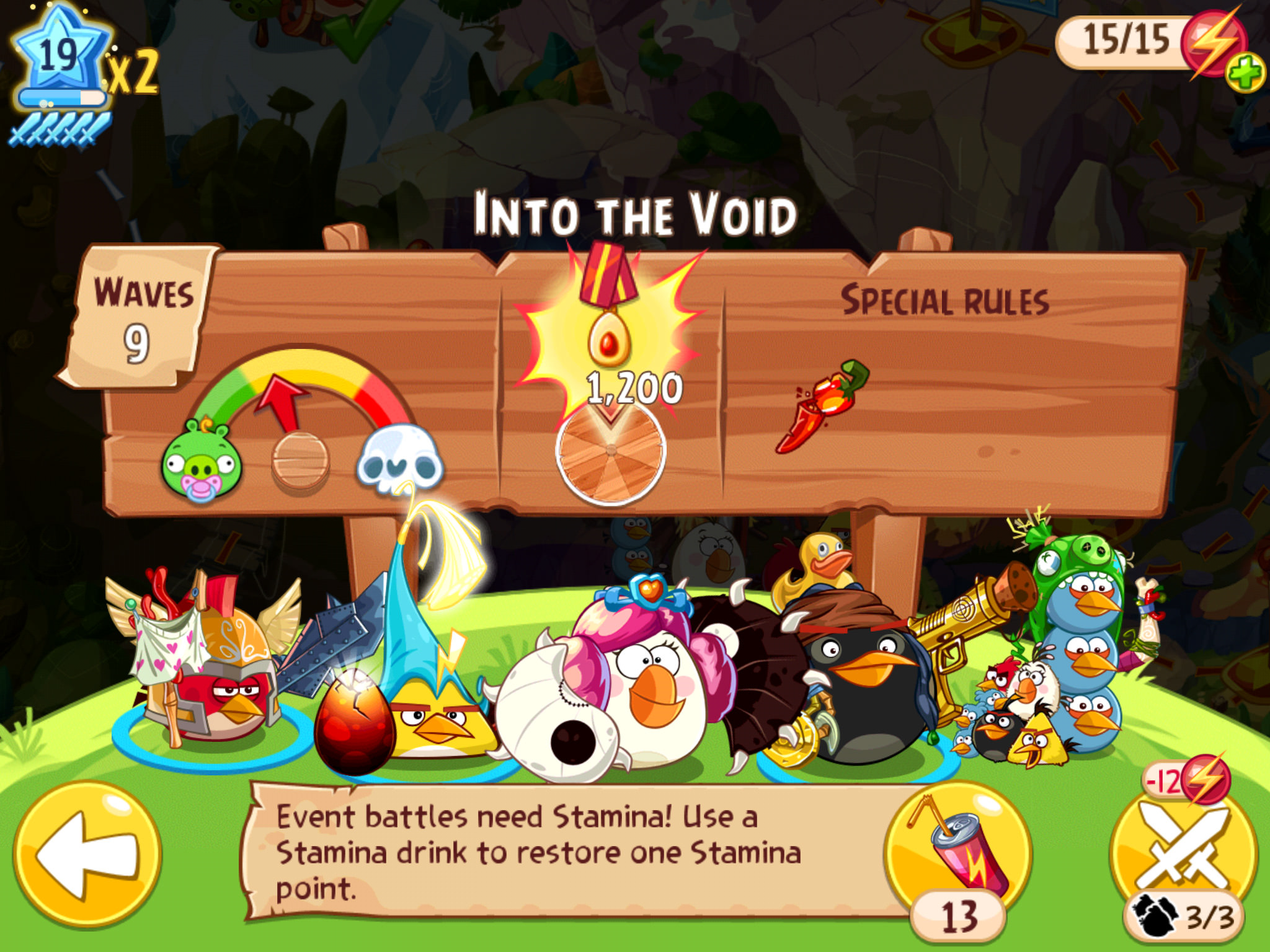 Angry Birds and Puzzle and Dragons partnership - Pre-battle