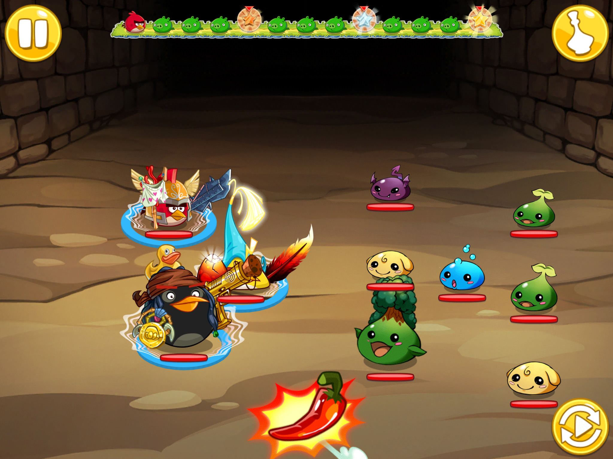 Angry Birds and Puzzle and Dragons partnership - Battle