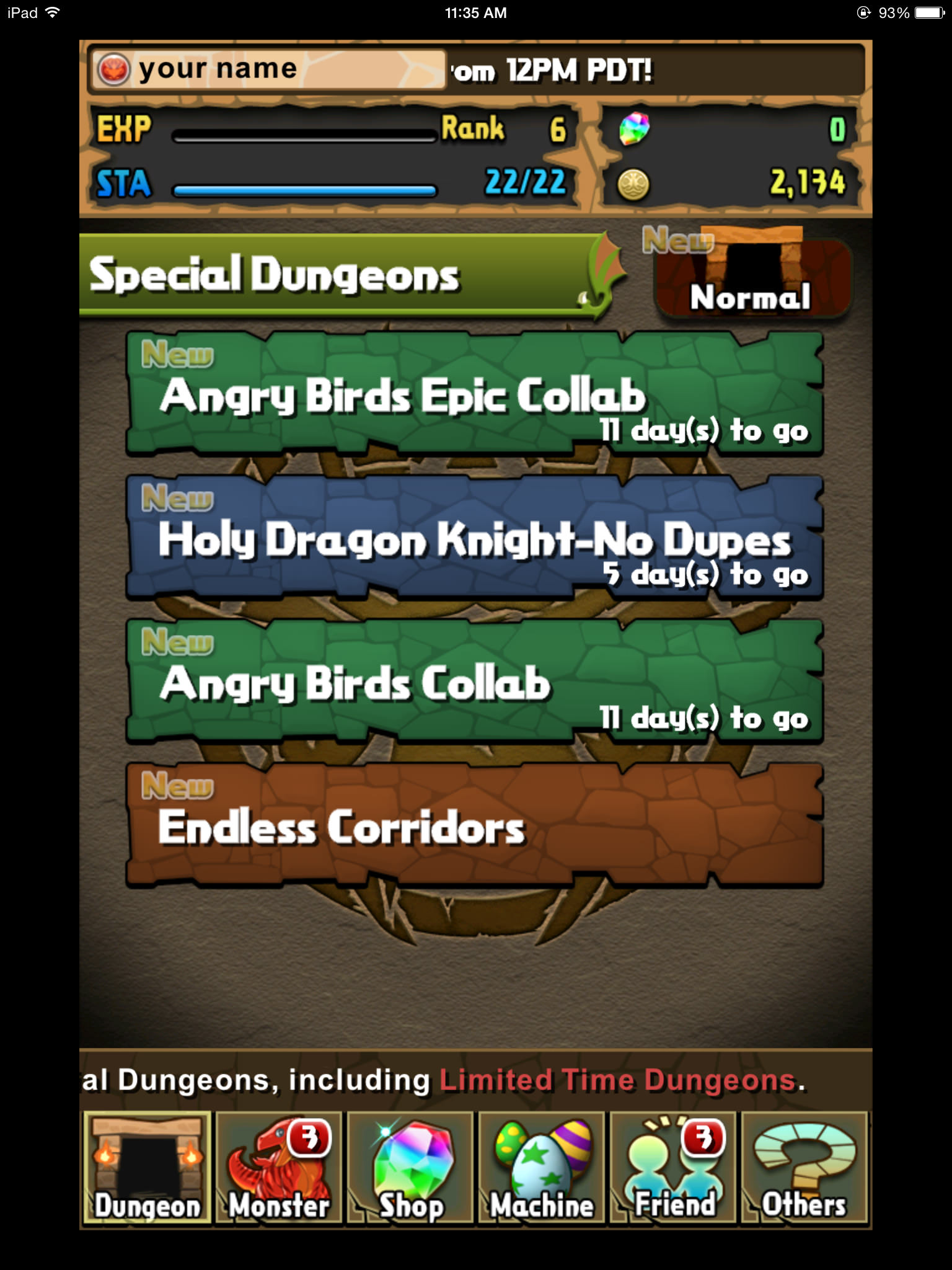 Puzzle & Dragons and Angry Birds Epic - Special Dungeons