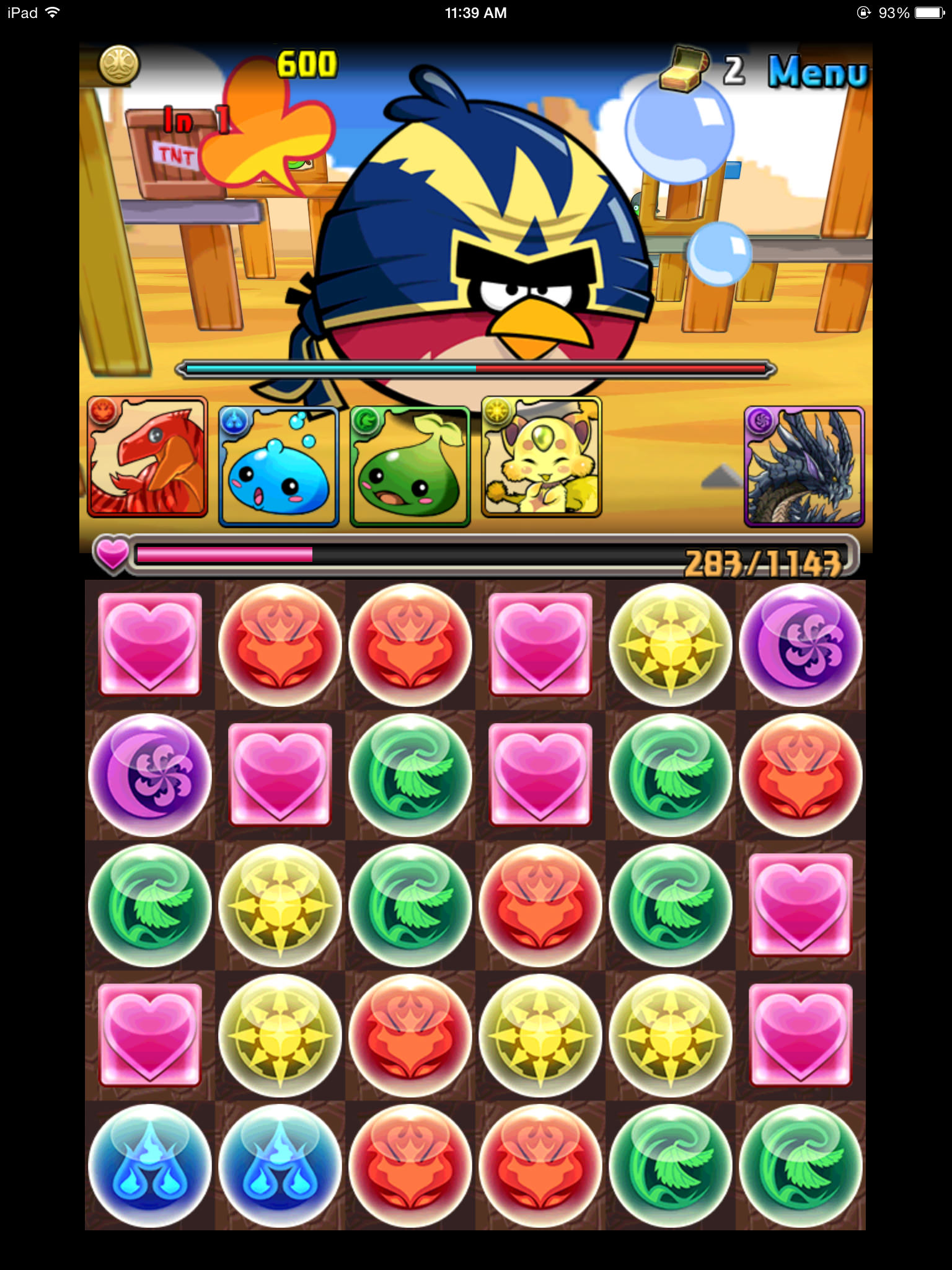 Puzzle & Dragons and Angry Birds Epic - Battle Screen 03